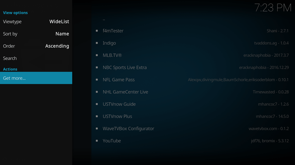 Select the 'get more' option at the bottom of the list