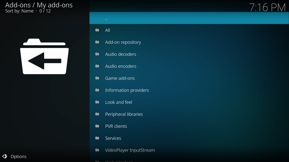 Select the first option which should be highlighted already with the '..' at the very top. This will take you up a menu level.