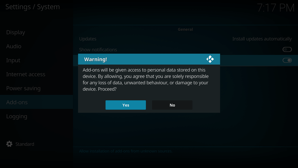 Confirm that you wish to enable this option