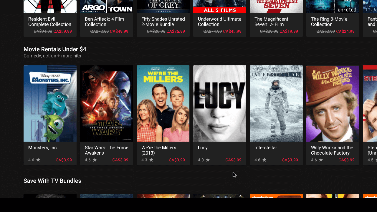Movie rental section. Just click what you want and purchase via your Google Account that you have setup